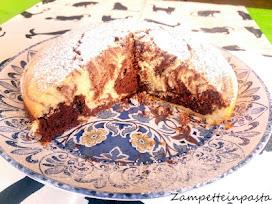 della Torta con latte di cocco variegata al cacao