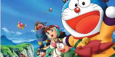 Gambar Nobita dan teman-temannya di negeri angin