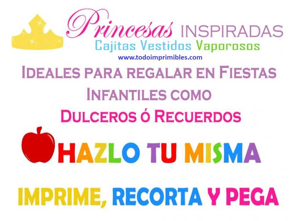 KIT IMPRIMIBLE CAJITAS VESTIDOS PRINCESAS DISNEY | KITS IMPRMIBLES ...