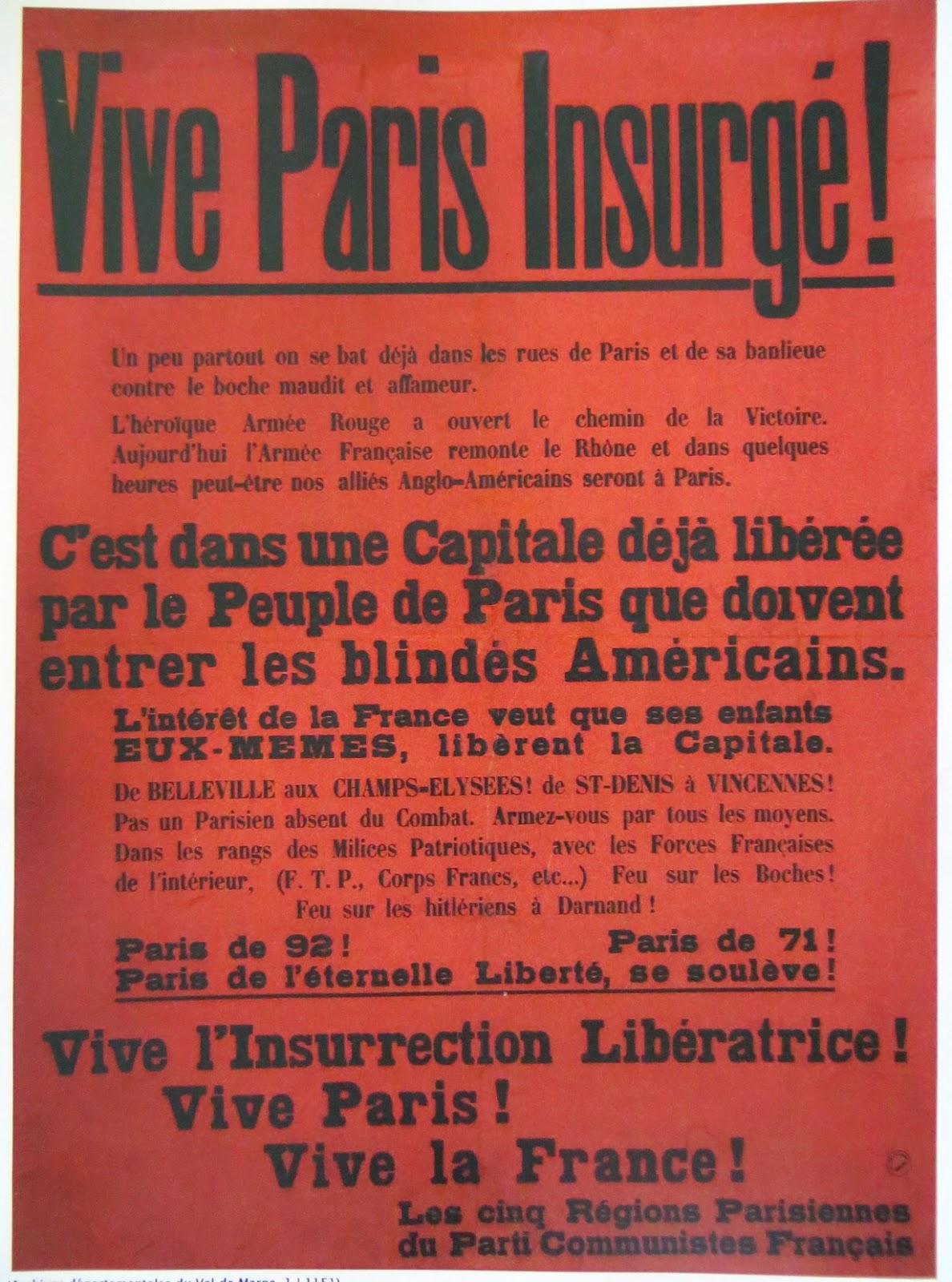 """Résultat de recherche d'images pour """"affiches insurrection PARIS libéré"""""""