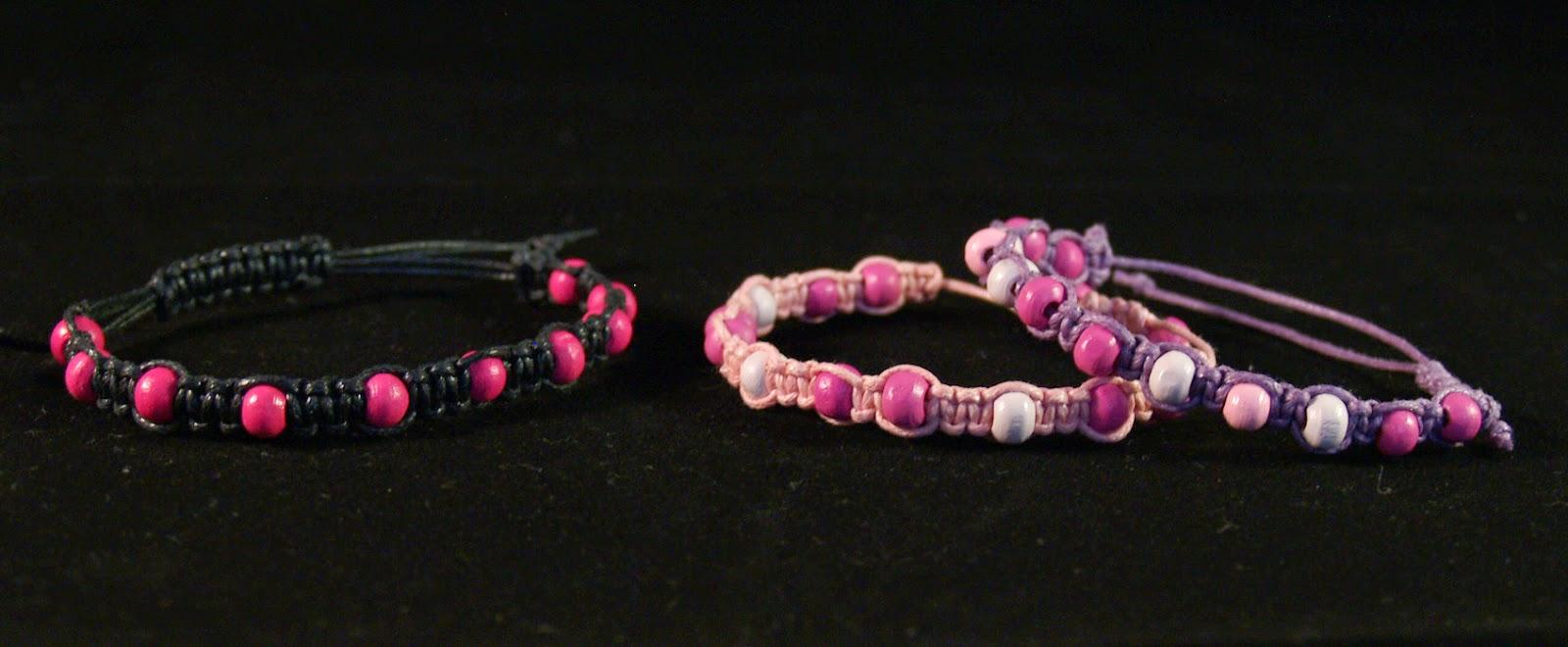 macrame bracelets pink