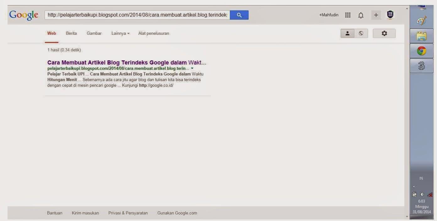Cara Membuat Artikel Blog Terindeks Google dalam Waktu Hitungan Menit
