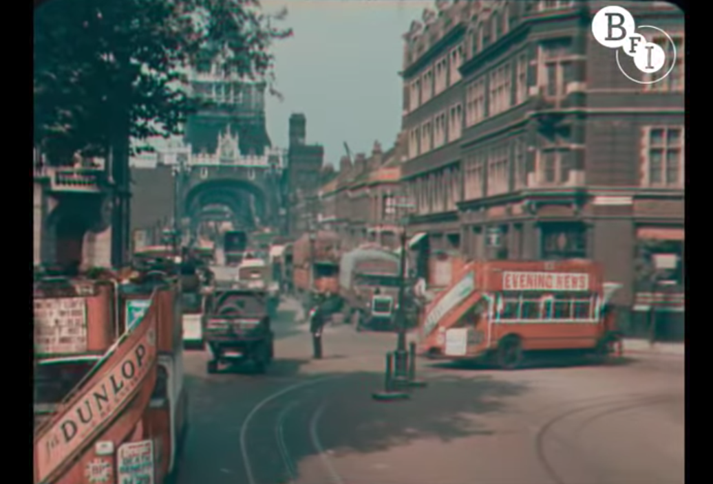 Screenshot from footage of London in full color in 1927
