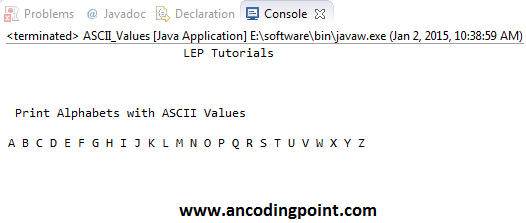 Print Alphabets with ASCII Values in Java
