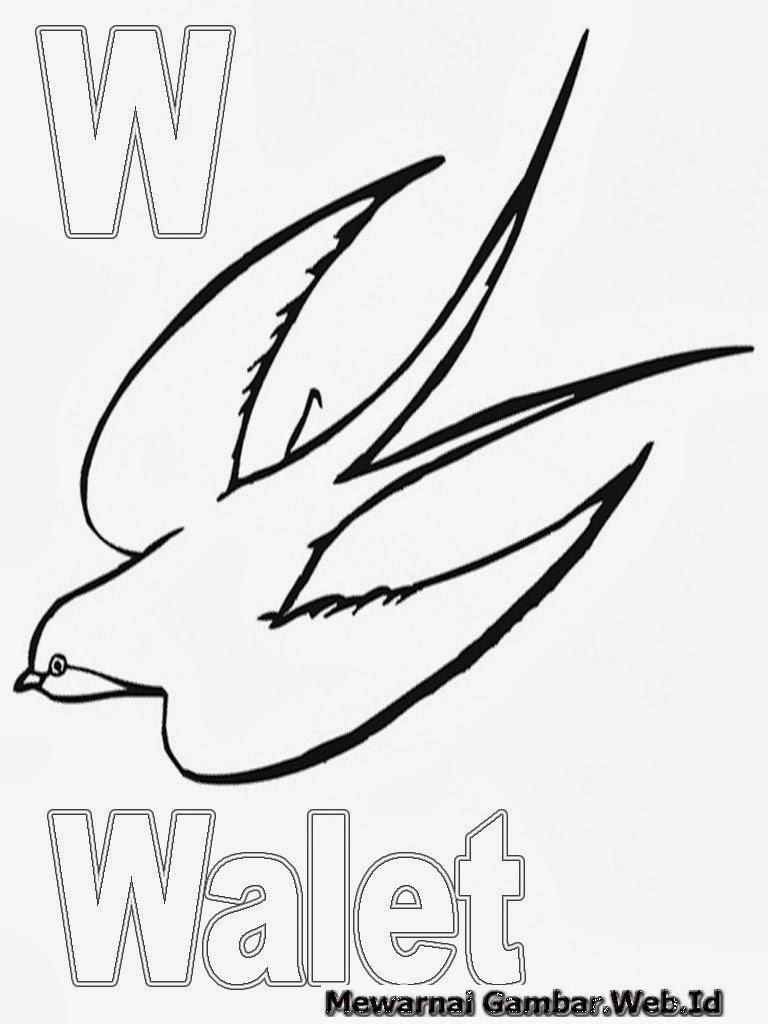 Mewarnai Hurup Alfabet W - Walet