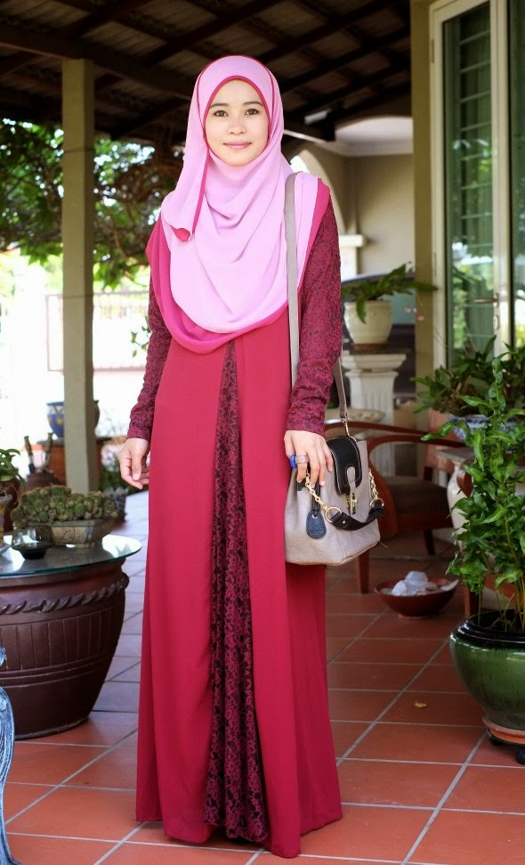 Dress Chiffon Lace Maroon