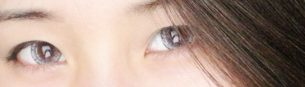The EOS Ice Gray circle lenses from PinkyParadise give off a stunning icy light gray color.