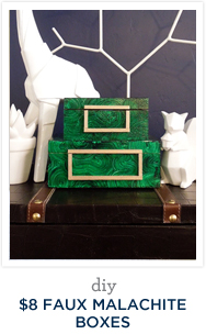 DIY $8 Faux Malachite Boxes