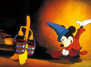 Mickey Mouse ordering around a mop in The Sorcerer's Apprentice sequence of Fantasia 1940 animatedfilmreviews.blogspot.com