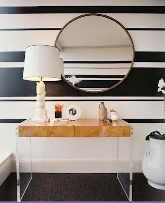 papel de parede listras preta e branca horizontal