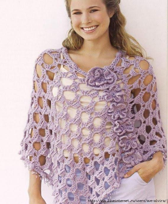 Crochet Summer Lacey Poncho With Flowers Free Chart Crochet