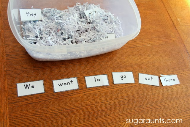 Use Sight Words in a sensory bin to enhance reading for young kids.