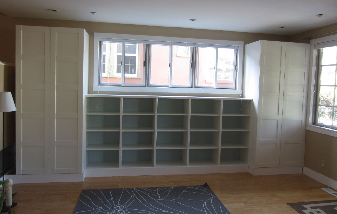 Living room built in bookshelves and closets using besta Built in shelves living room