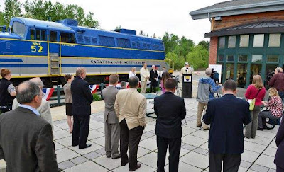 Press conference at the Saratoga Springs rail station, May 16, 2012. Photo credit:  Times Union