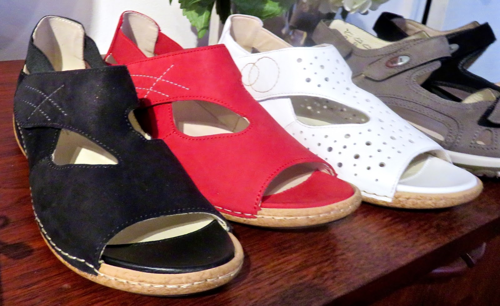 quality made---just right for Spring...Bailey $155 Nubuck adjustable uppers  and breathable footbeds-white Brooke $155