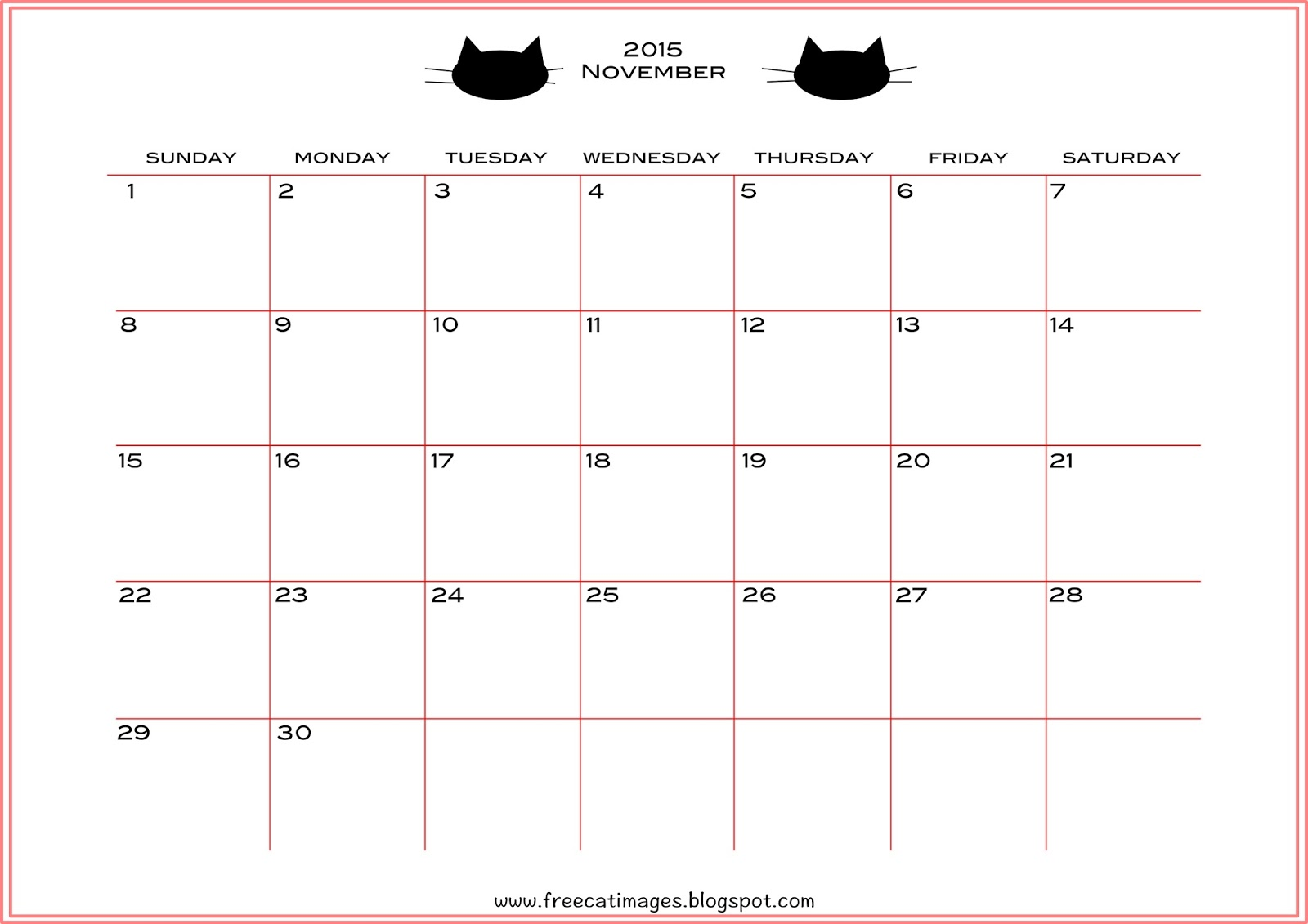Free printable 2015 November calendar - November planner - freebie ...