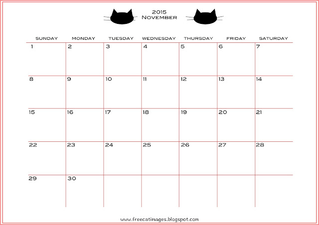 free cat images  free printable 2015 november calendar