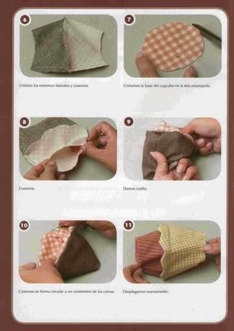 Como fazer cupcake de tecido passo a passo