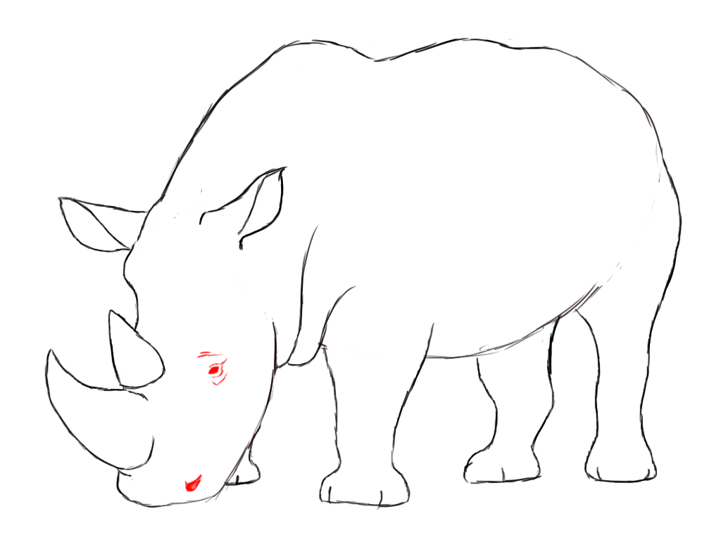 Rhinoceros drawing for kids - photo#21