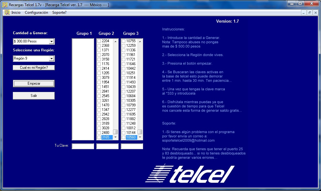 Recargas Telcel 1.7