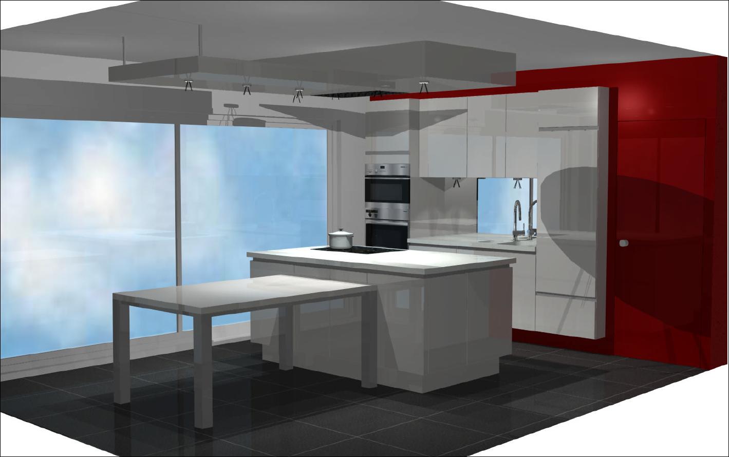 Verlaagde Plafond Keuken : Het spoelgedeelte bevindt zich aan de muur. Het koken zal centraal op