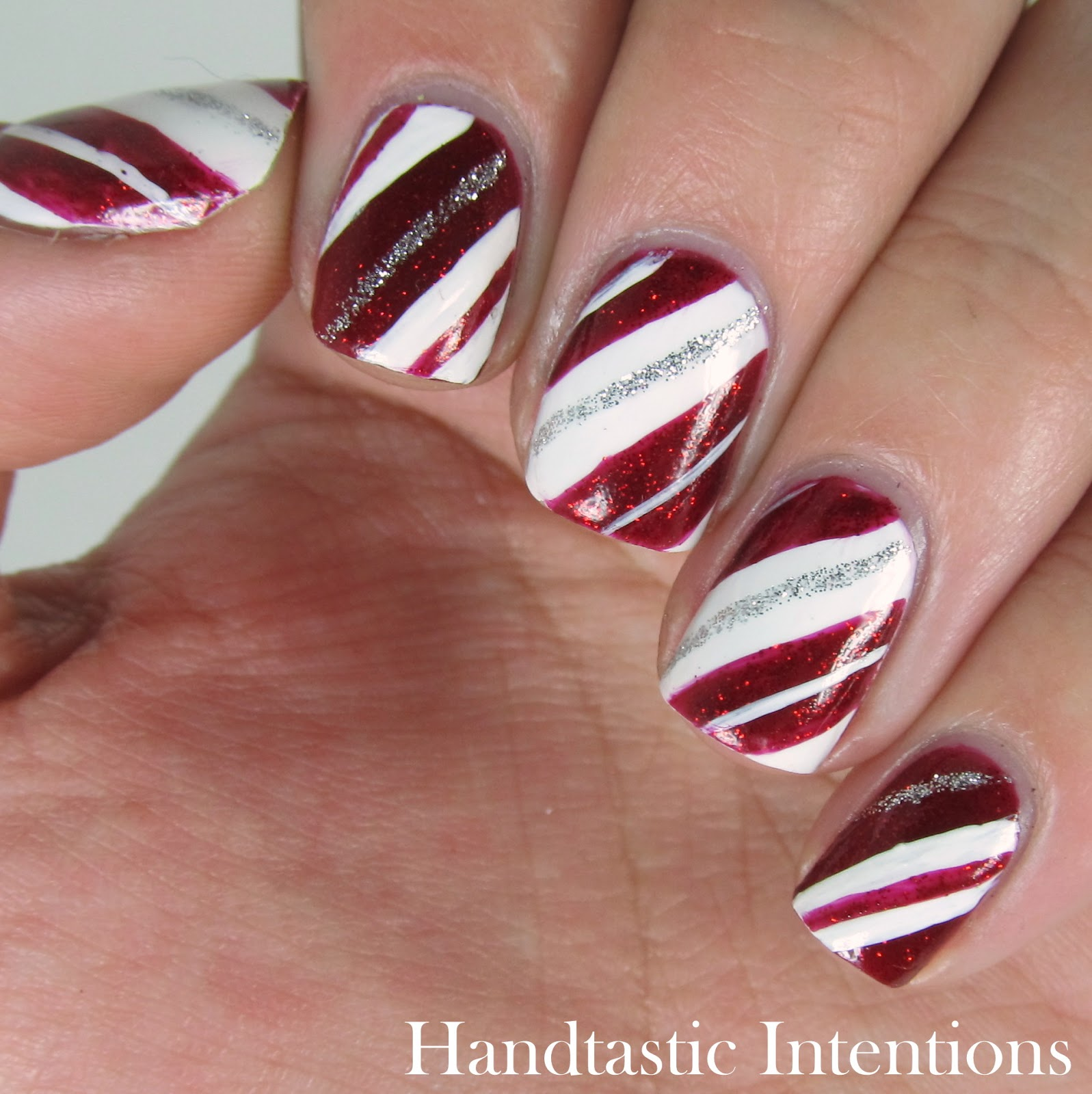 Handtastic intentions christmas nail art christmas tree candy candy cane nails prinsesfo Image collections