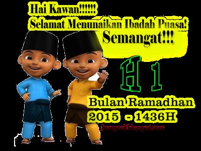 Gambar Kata H-1 Hari Pertama Puasa Ramadhan 2015 1436H Upin Ipin