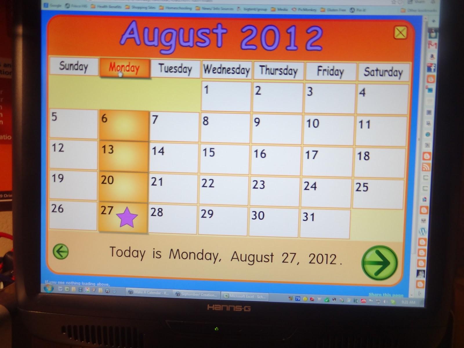 Starfall Calendar August