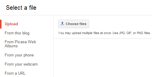 select a file using upload option for adding image in blogger post