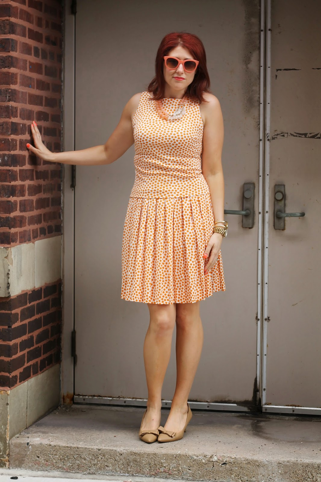 vintage, polka dot, dress, bow, pumps, retro, red hair