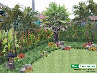 taman minimalis dengan palm palman taman dengan efek air dan bambu