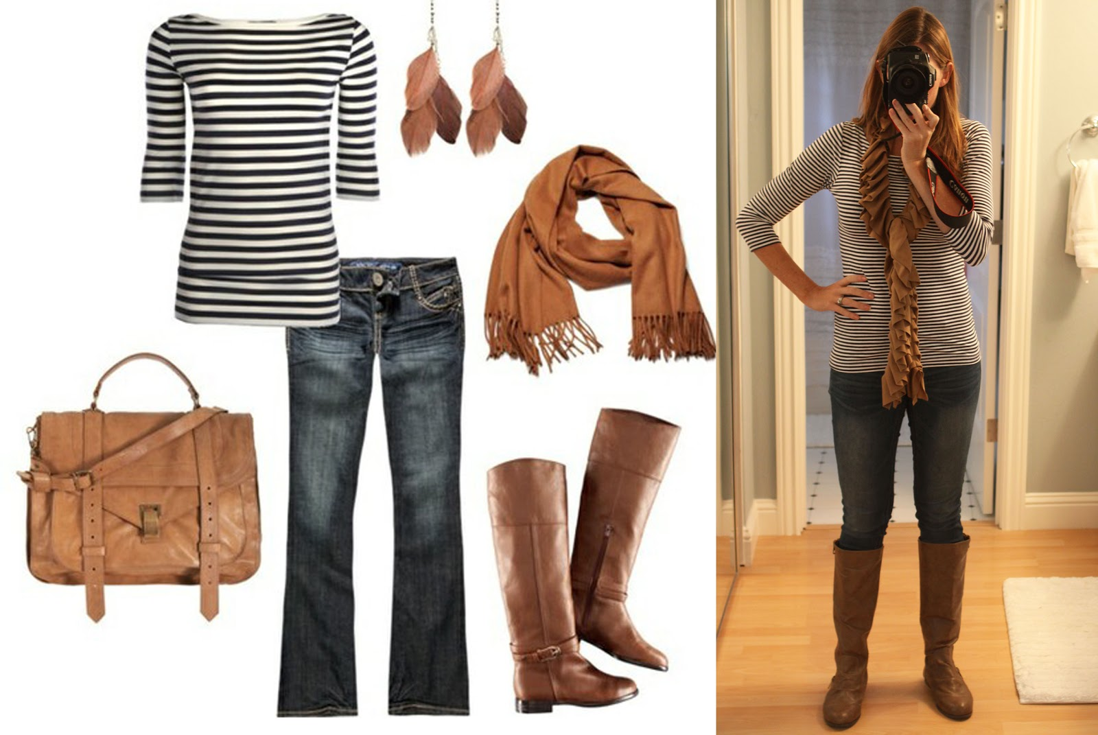 Outfit #3 – Navy & Camel? Loved it together!