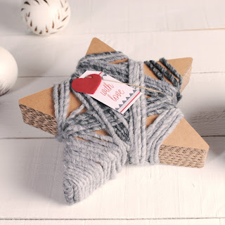decoración caja con forma de estrella lanas self packaging