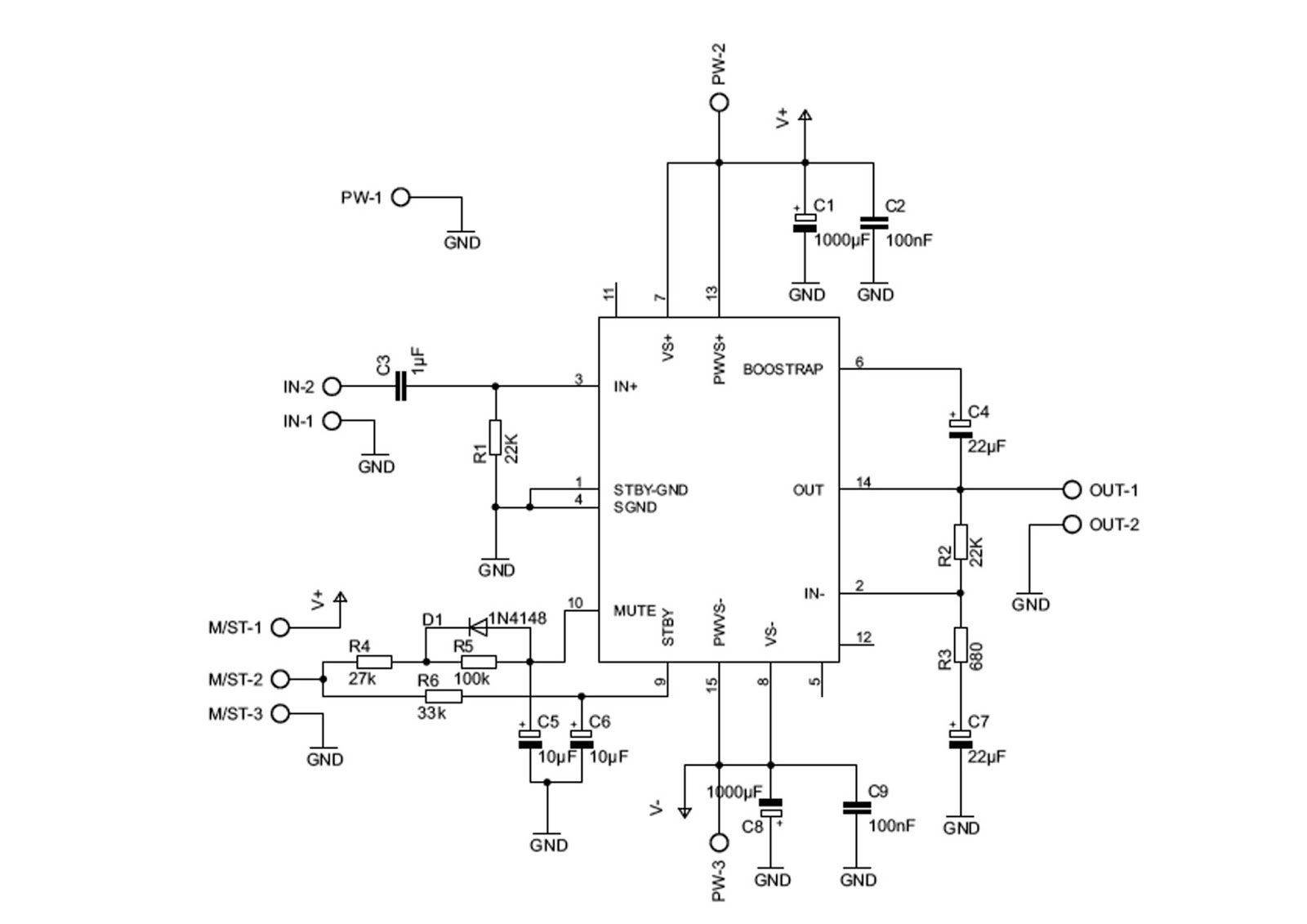 Project Expo 100 Watt Dmos Audio Amplifier With Mute St By Using 2 Watts Stereo Three Lm386 Tda7293