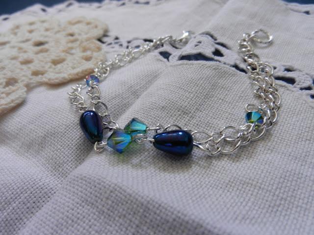 swarvloski blue silver bracelet