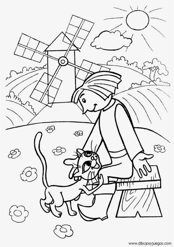 gato con botas dibujos para colorear