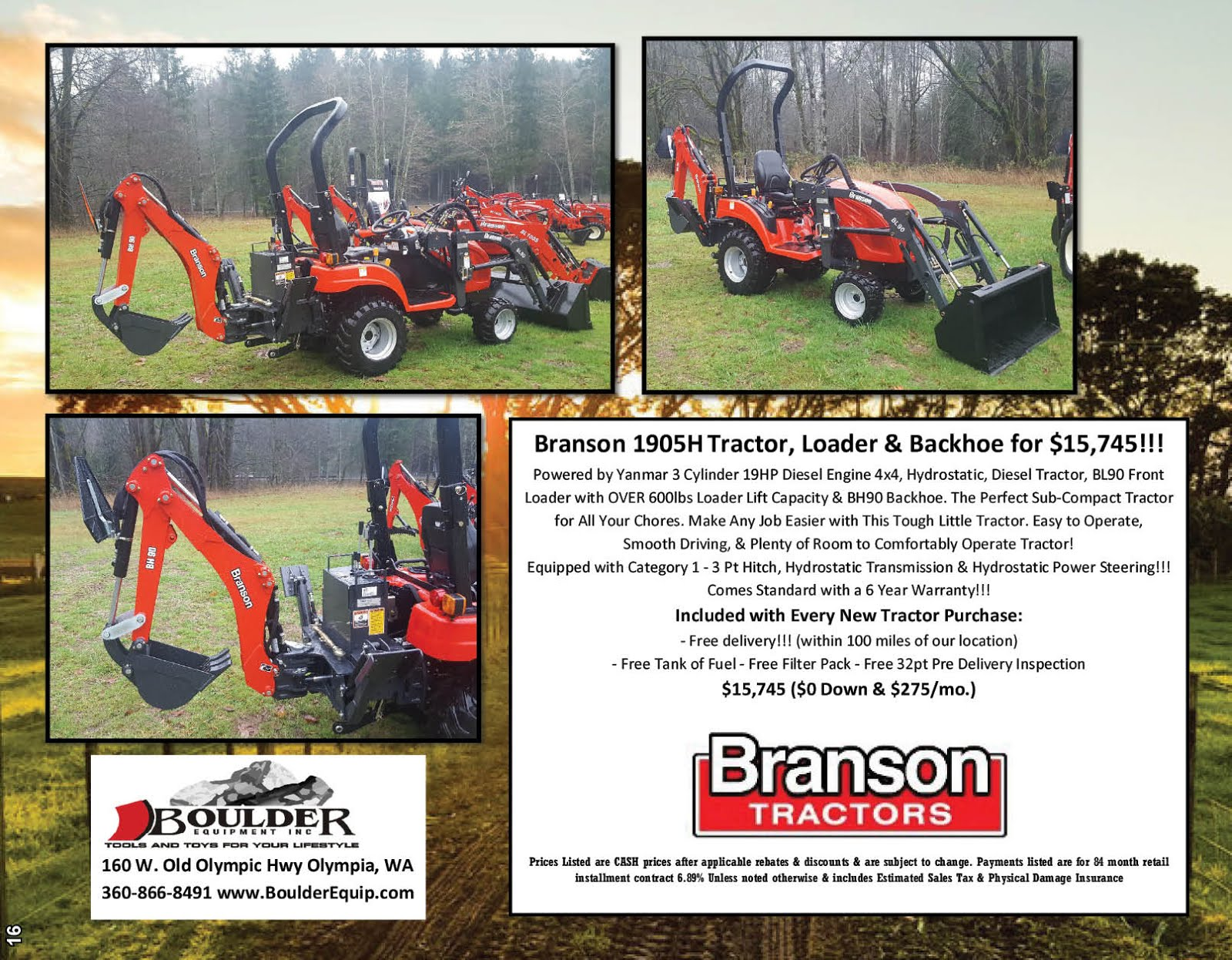 Boulder Equipment Has the Branson 1905H Diesel Tractor Pkg on Sale Now!!