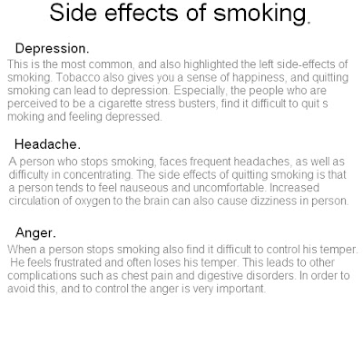 stop smoking side effects