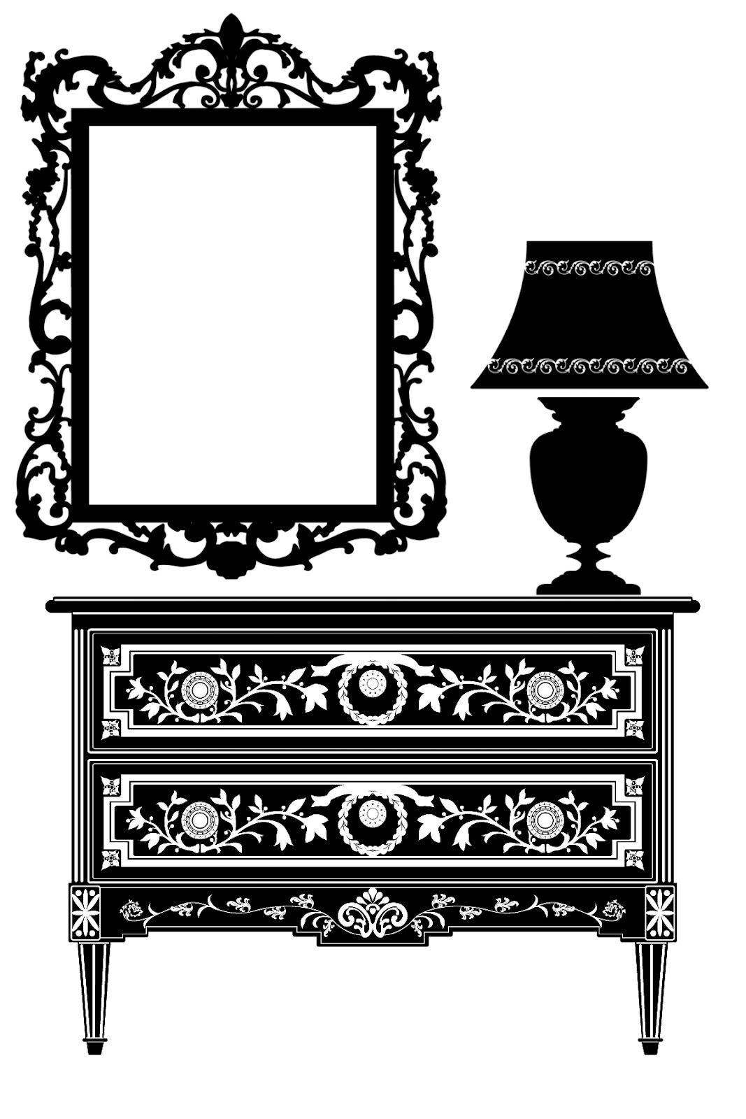 Antique chair silhouette - Free Digital Stamp Furniture Silhouette