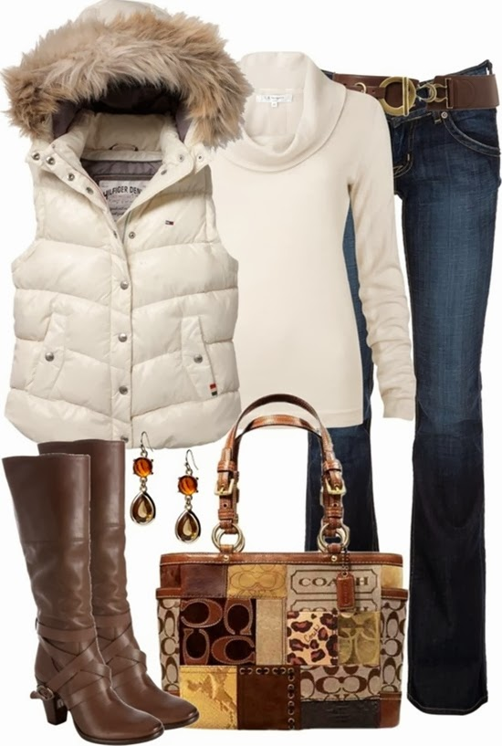 White sleeveless jacket, high neck sweater, jeans and high heel boots for fall