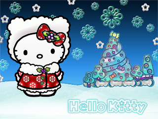Hello Kitty Christmas desktop wallpaper background 900x765