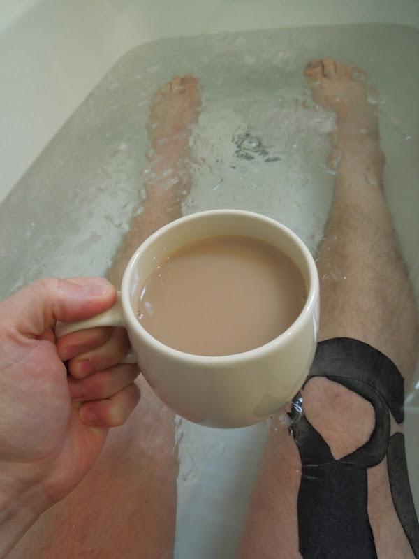 Runners icebath cup tea