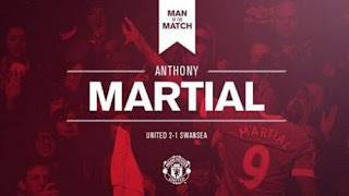 Anthony Martial Man of The Match MU vs Swansea 2-1