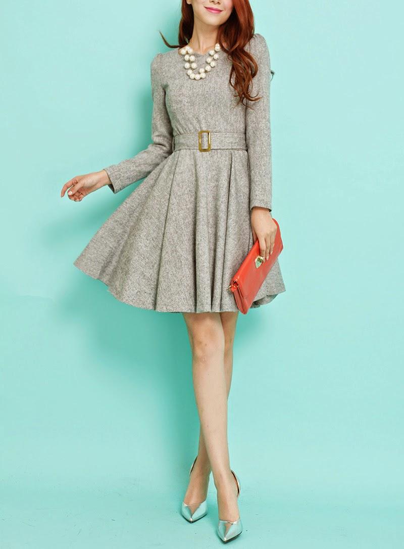 Long Sleeve Gray Autumn Wool Flare Dress