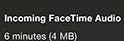 Facetime Calls Data Used