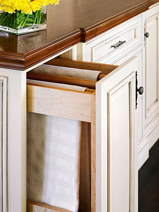 Outfit A Narrow Pullout Cabinet With Wood Dowels Or Window Treatment