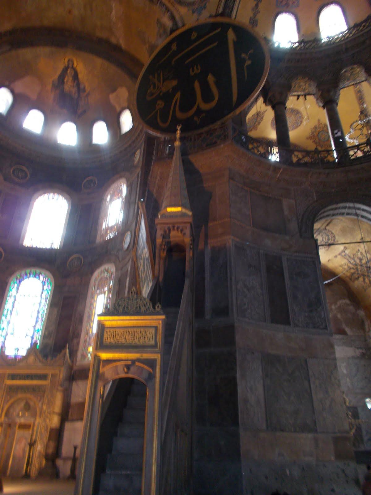 """""""Minbar"""" in Hagia Sophia Museum."""