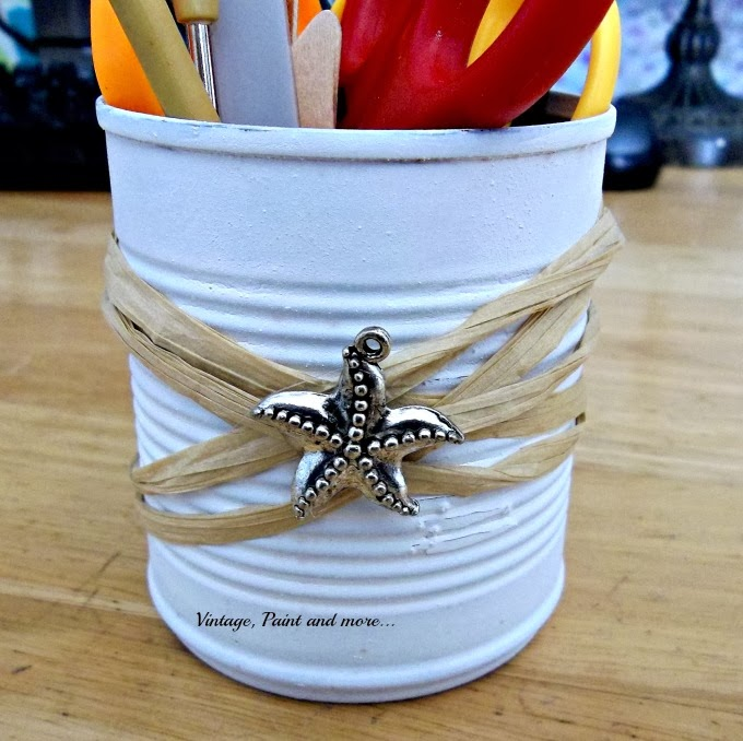 Tin Can Therapy - tin cans with raffia and star fish charm