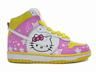 Hello Kitty Nike sneakers, pink and yellow shoes