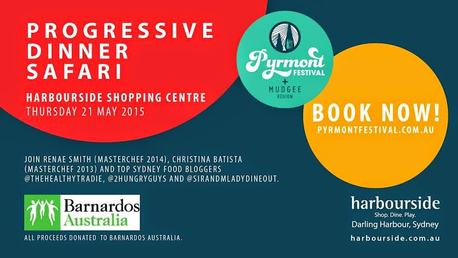 Join us at the Harbourside Progressive Dinner Safari for Barnardos Australia on Thursday 21 May
